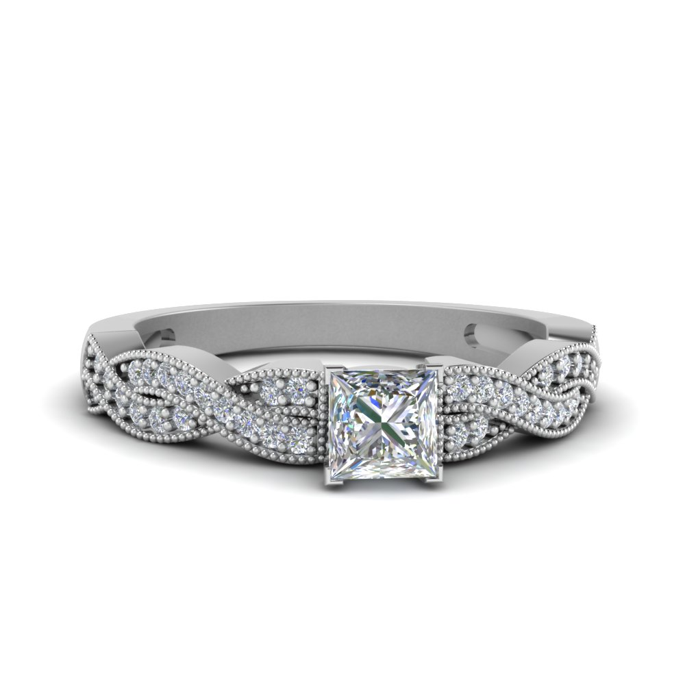 princess cut diamond milgrain twisted ring in FDENS3031PRR NL WG.jpg