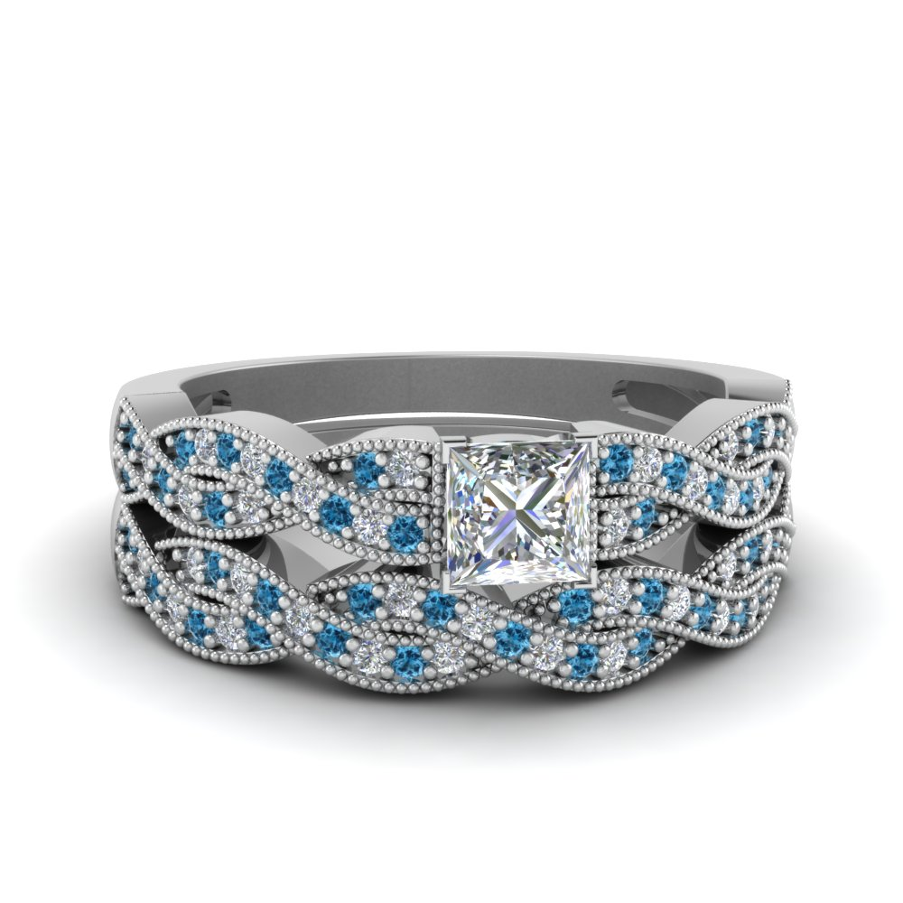 princess cut diamond milgrain twisted wedding set with blue topaz in FDENS3031PRGICBLTO NL WG