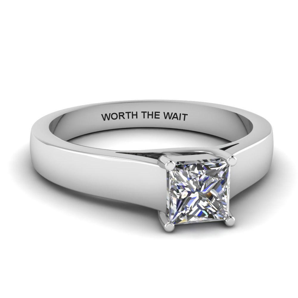 Princess Cut Diamond Personalized Solitaire Wide Engagement Ring In 14K White Gold