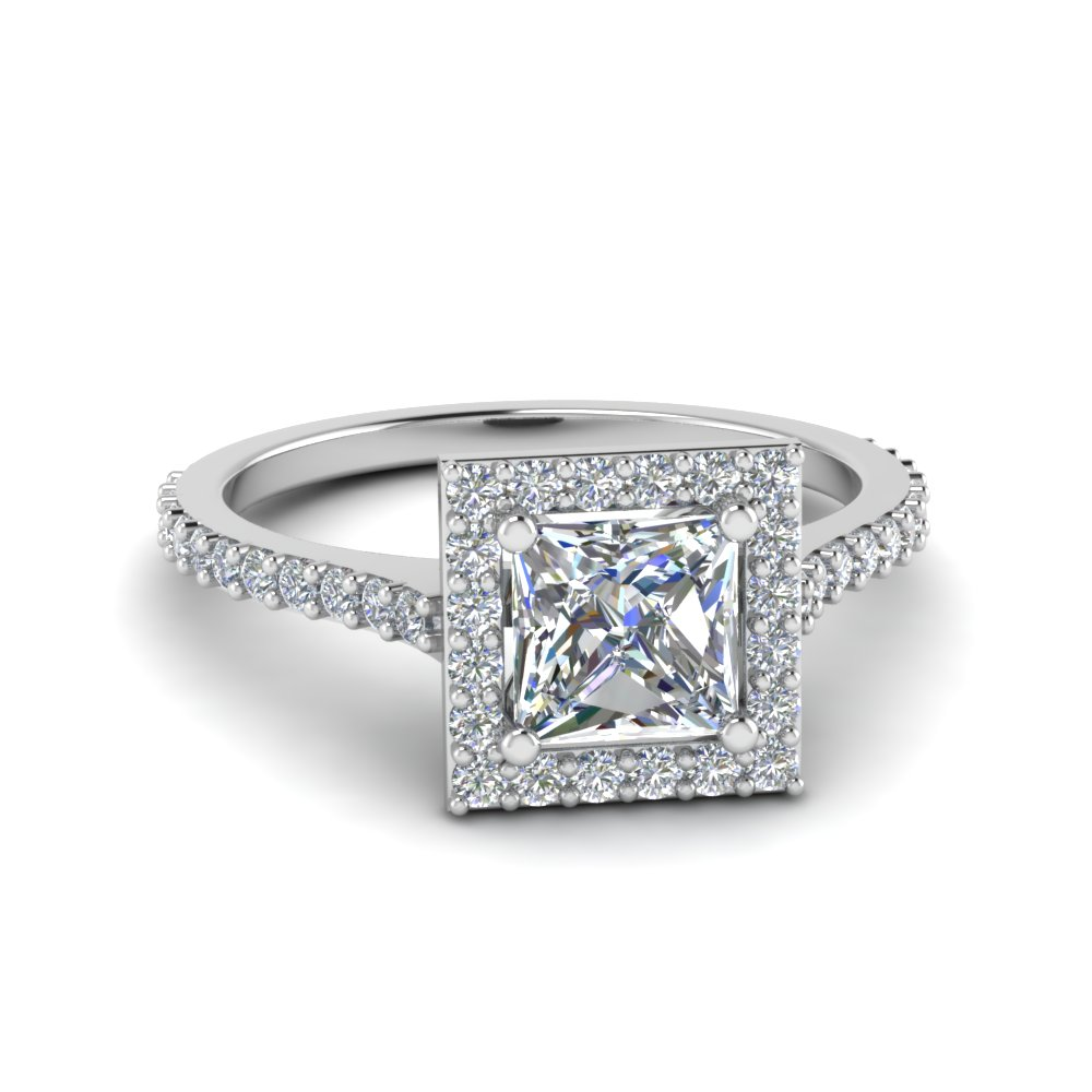 princess cut diamond petite halo engagement ring in FD8165PRR NL WG