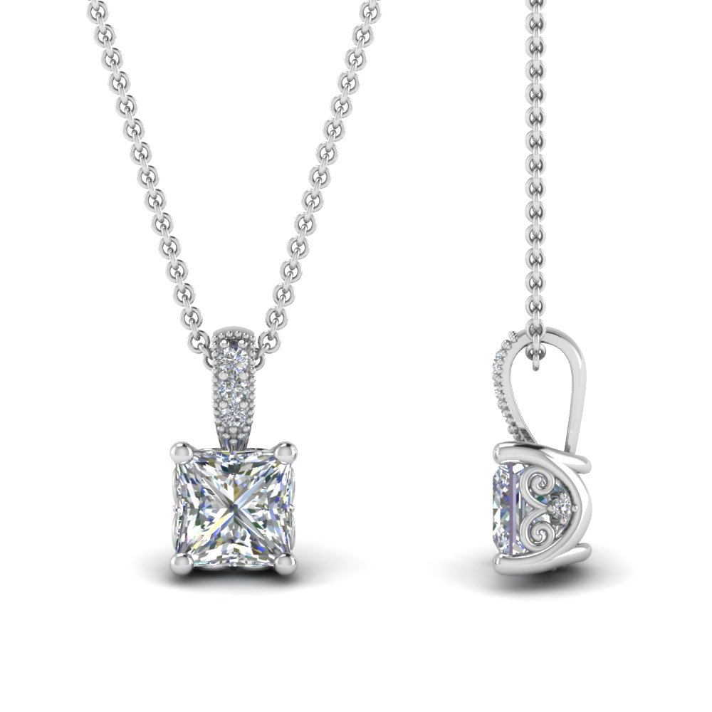 1 Ct. Princess Cut Diamond Pendant