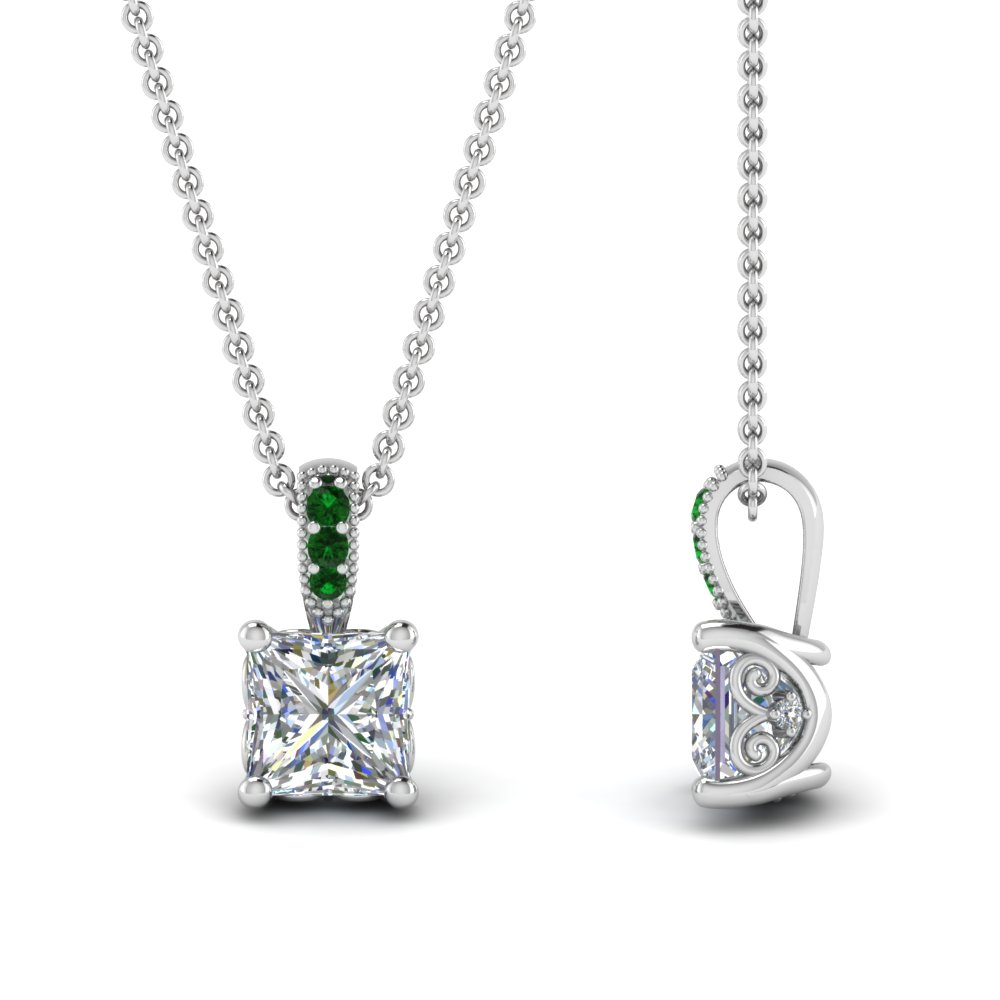 Princess Cut Emerald Pendant