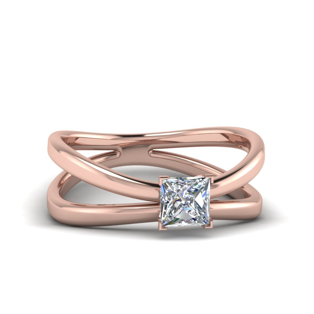 Princess Cut Diamond Solitaire Engagement Rings In 14k Rose Gold