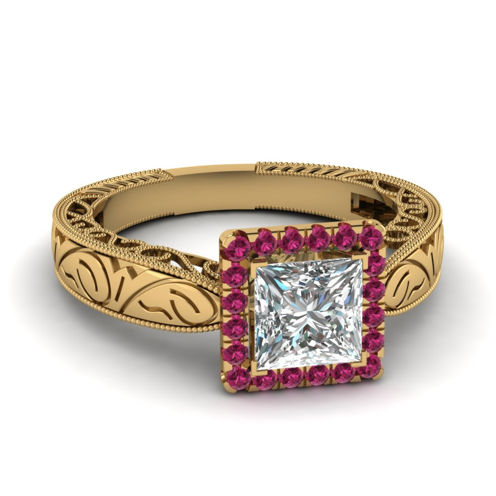 Princess Sapphire Yellow Gold Halo Ring
