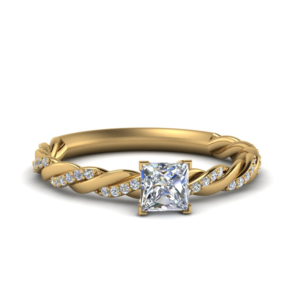 twisted vine princess cut diamond engagement ring for women in FD122673PRR NL YG