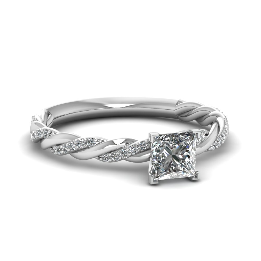 Rope Style 18k White Gold Side Stone Engagement Ring