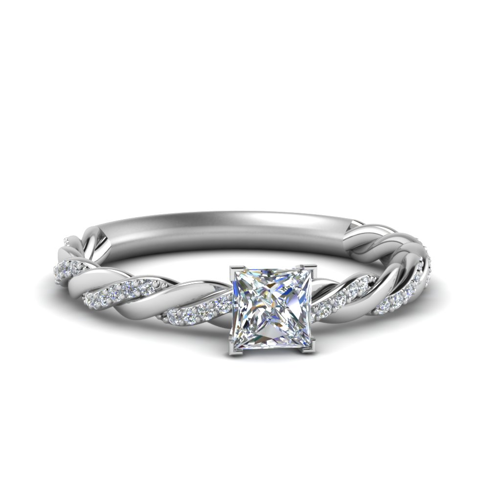 twisted vine princess cut diamond engagement ring for women in FD122673PRR NL WG