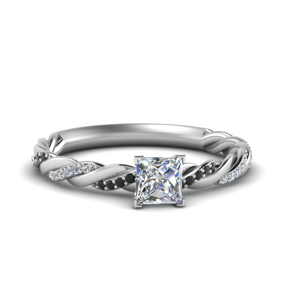 twisted vine princess cut engagement ring for women with black diamond in FD122673PRRGBLACK NL WG