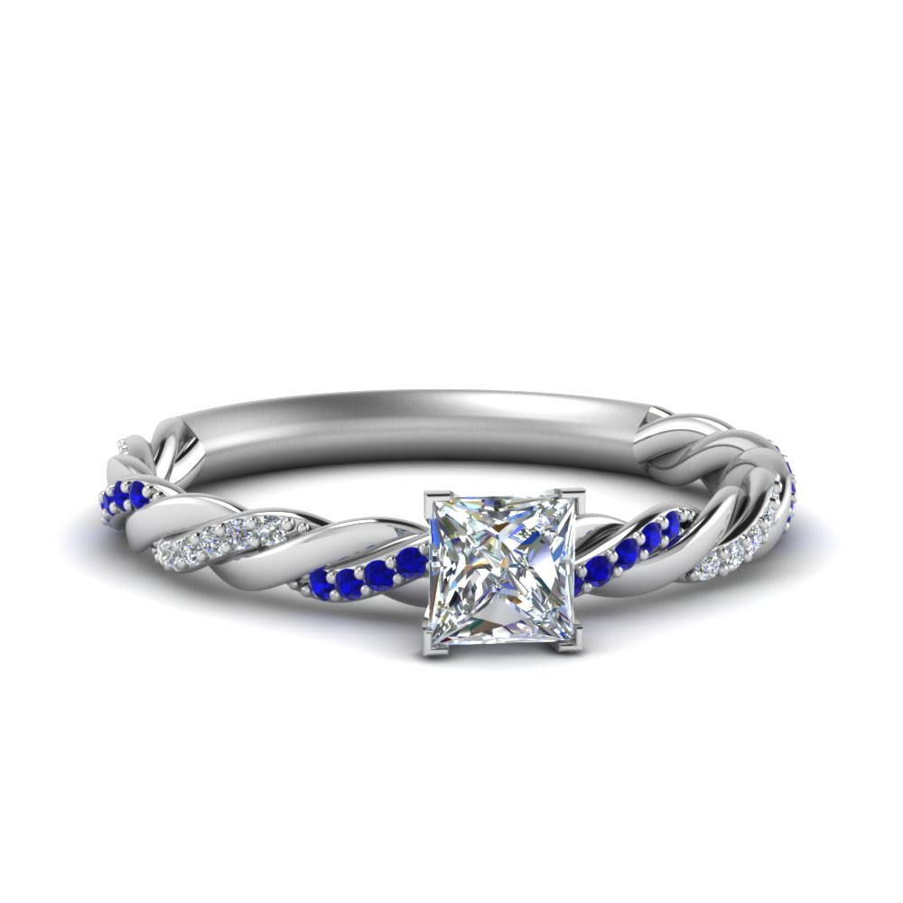twisted vine princess cut diamond engagement ring for women with sapphire in FD122673PRRGSABL NL WG