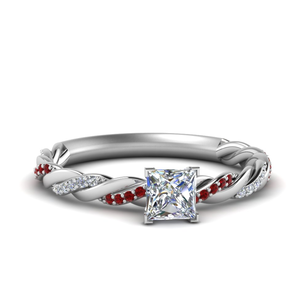 Twisted Vine Princess Cut Ruby Ring