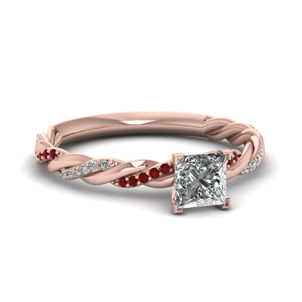 Princess Cut Diamond & Ruby Ring