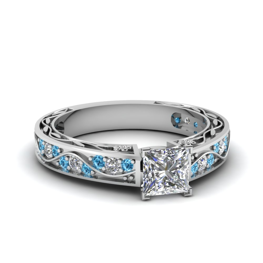 Princess Cut Diamond With Blue Topaz Engagement Ring