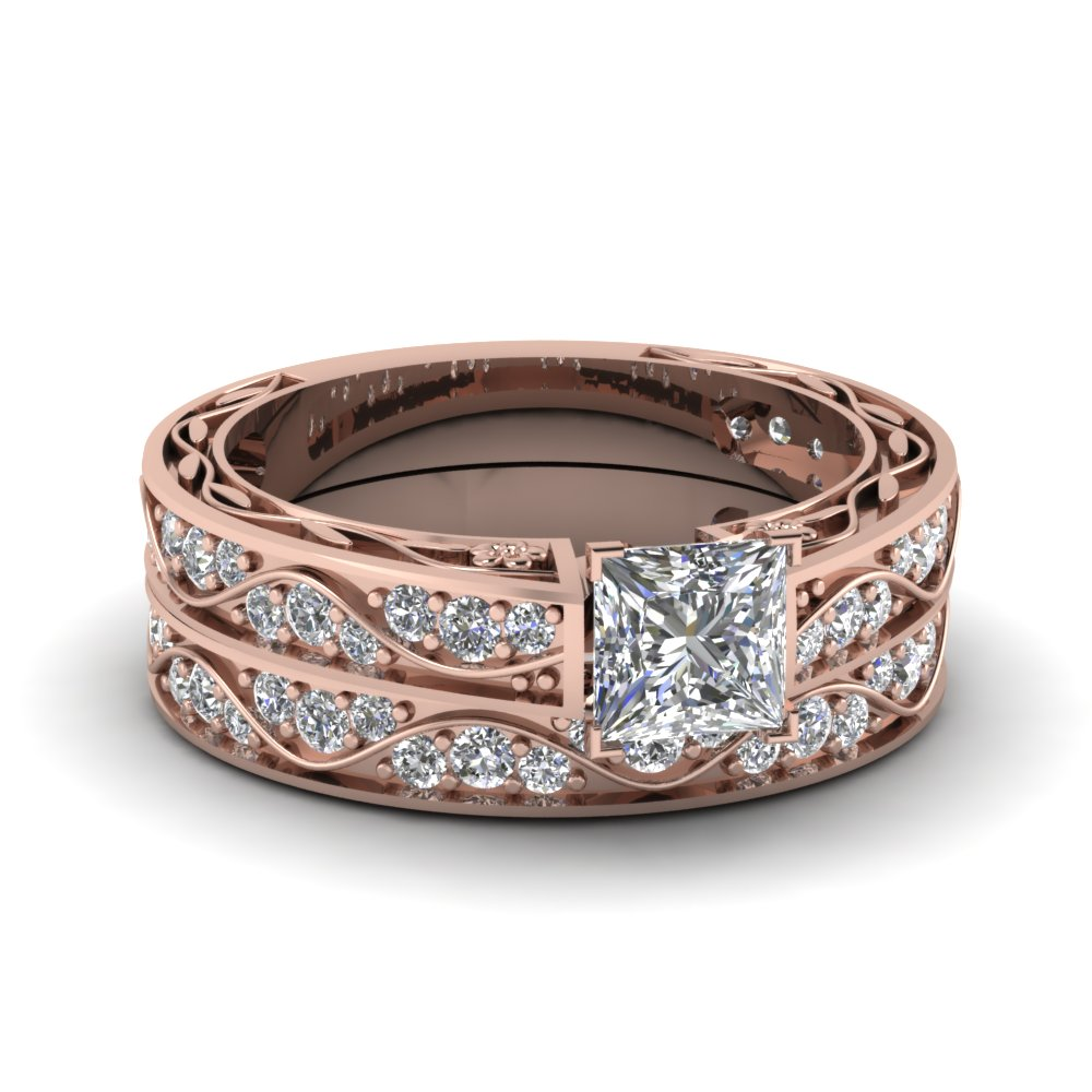 Princess Cut Antique Diamond Filigree Wedding Set In 14k Rose Gold
