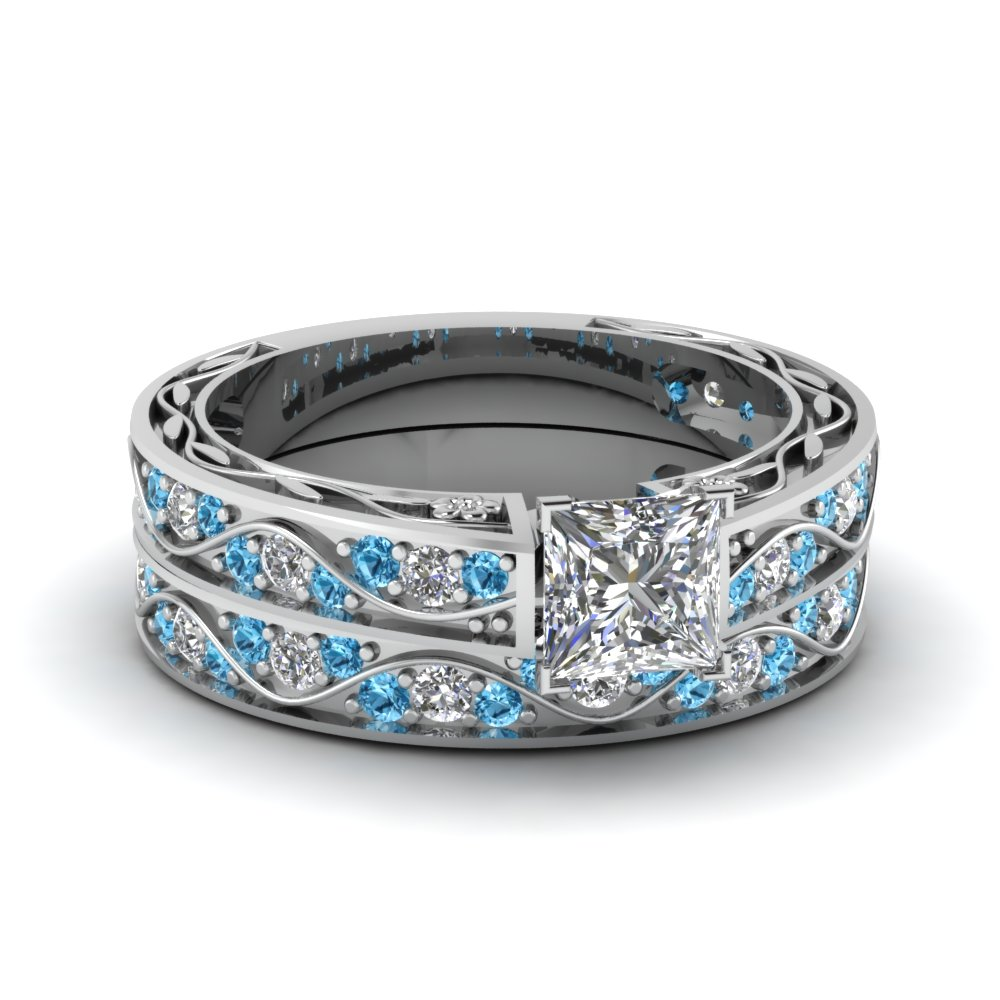 princess cut antique diamond filigree wedding set with blue topaz in FDENS3543PRGICBLTO NL WG