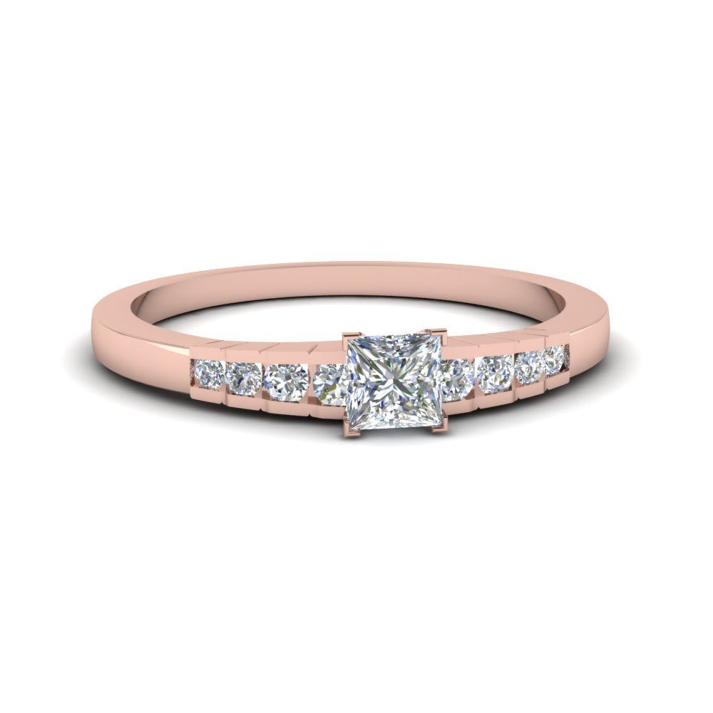 Rose Gold Princess Cut Petite Rings
