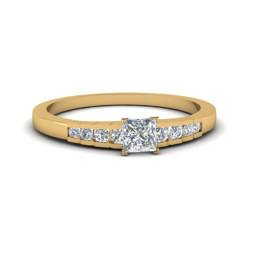 princess cut diamond simple petite engagement ring in 14K yellow gold FDENS3116PRR NL YG
