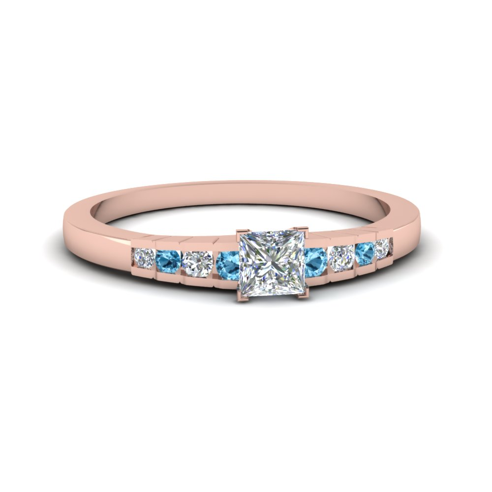 princess cut diamond graduated accent engagement ring with blue topaz in 18K rose gold FDENS3116PRRGICBLTO NL RG