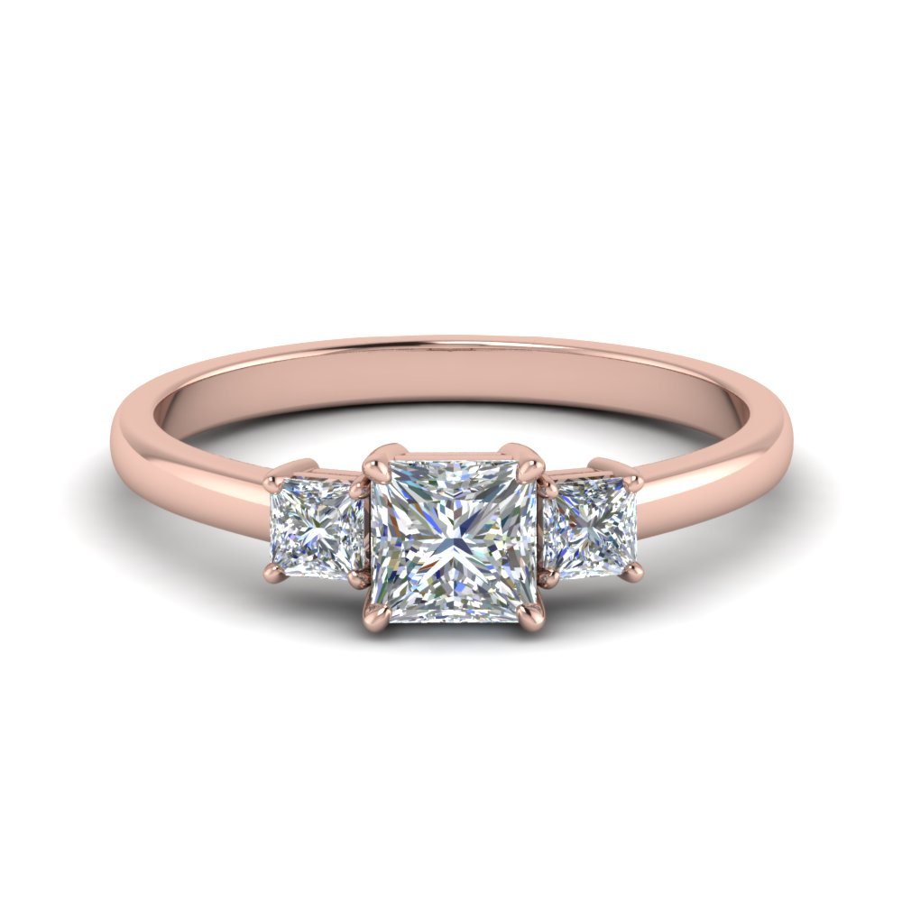 3 stone princess cut engagement ring in 14K rose gold FDENS3107PRR NL RG