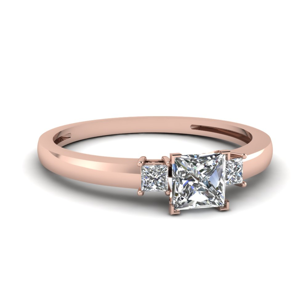 3 Stone Heart Shaped Engagement Ring In 14K Rose Gold