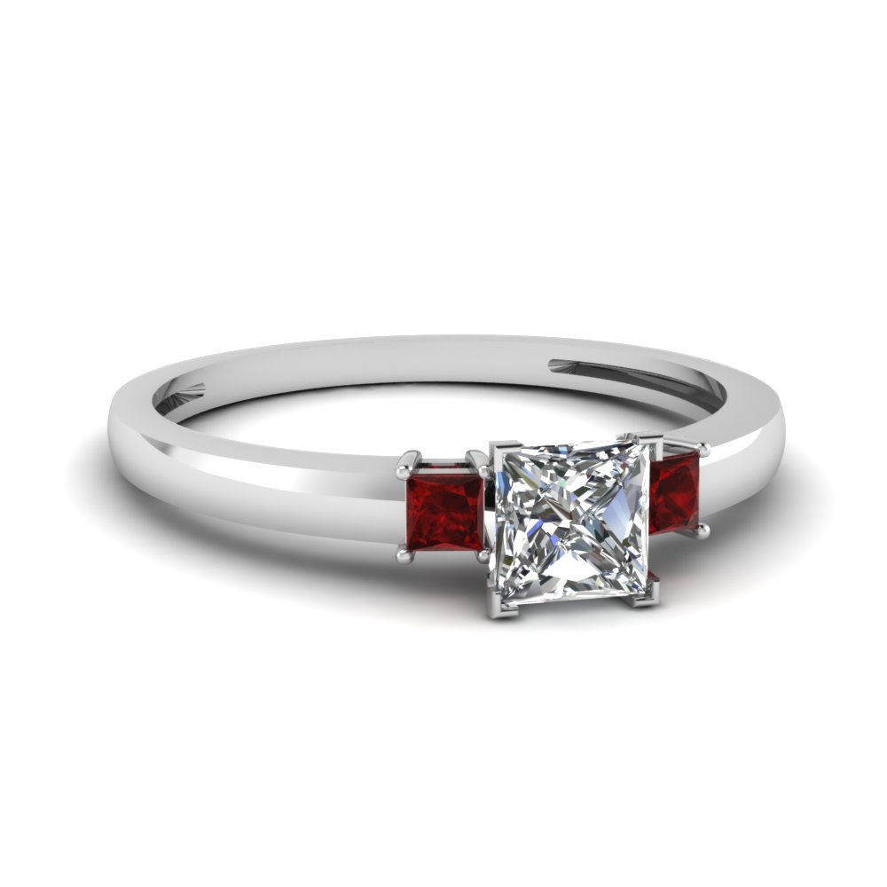 3 Stone Princess Cut Ruby Ring