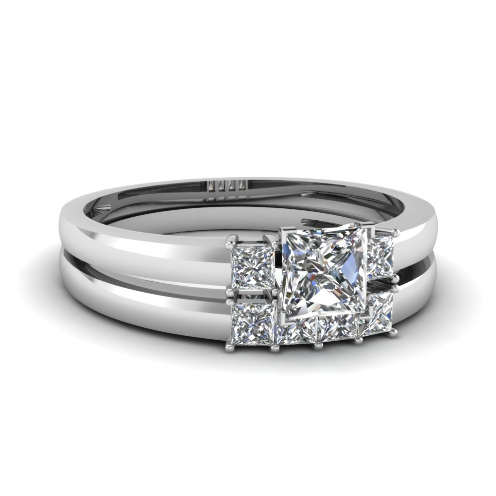 Three Stone Bridal Ring Set White Gold