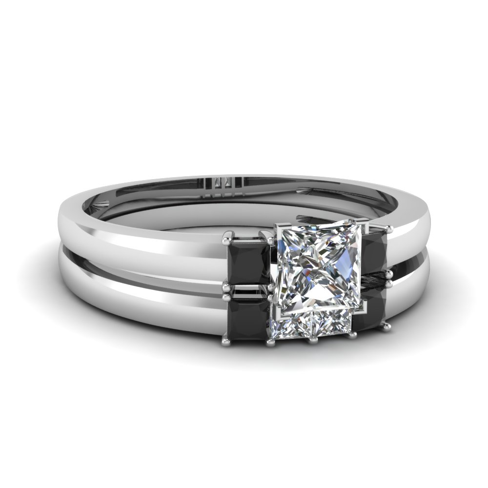 3 stone princess cut wedding ring set with black diamond