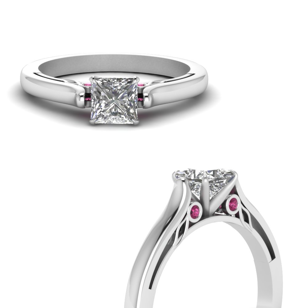 princess cut cathedral diamond engagement ring with pink sapphire in FDENS2000PRRGSADRPIANGLE3 NL WG.jpg