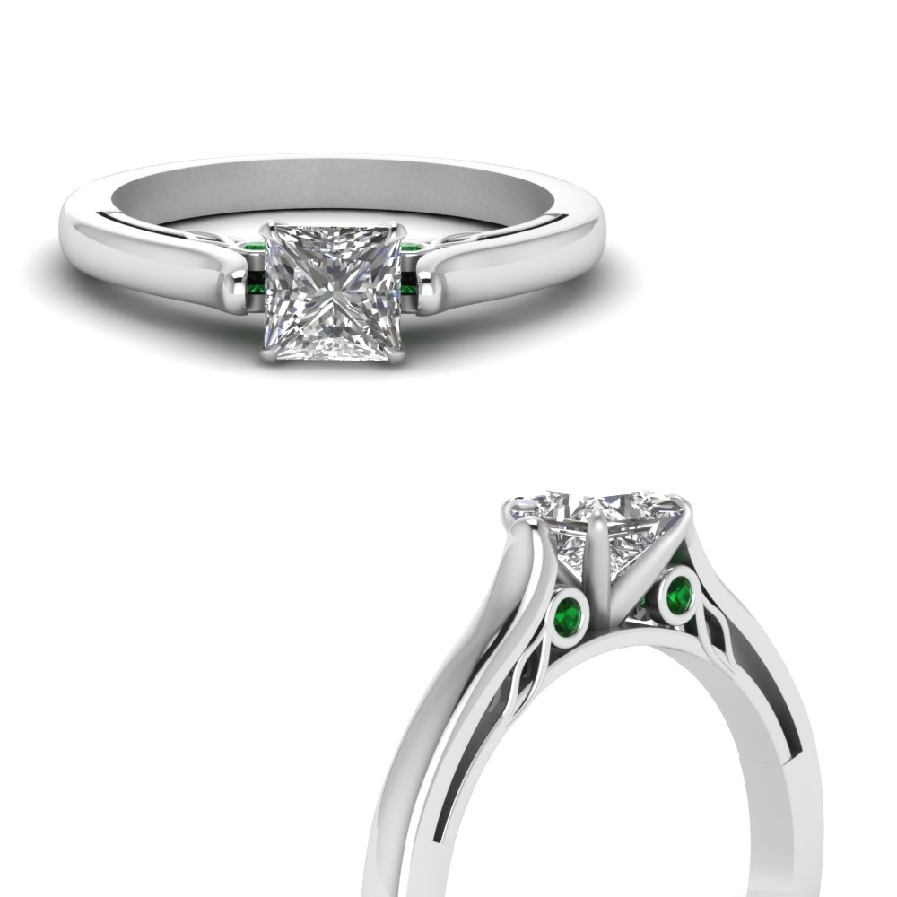 princess cut cathedral diamond engagement ring with emerald in FDENS2000PRRGEMGRANGLE3 NL WG.jpg