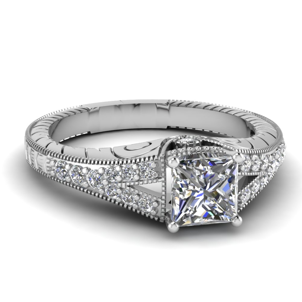 Princess Cut Diamond Square Split Shank Engraved Vintage ...