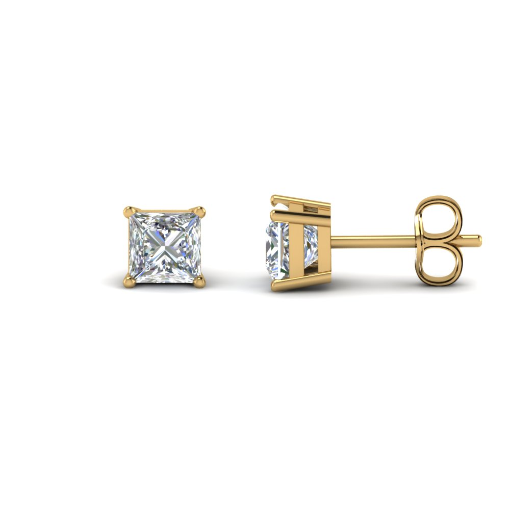 princess cut diamond stud earring 2 carat in 14K yellow gold FDEAR4PR1CT NL YG