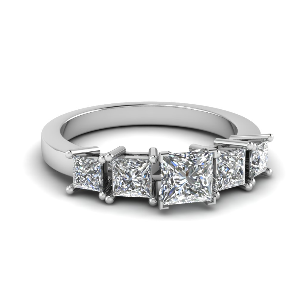 basket princess cut 5 stone engagement ring in FDENR1012PRR NL WG