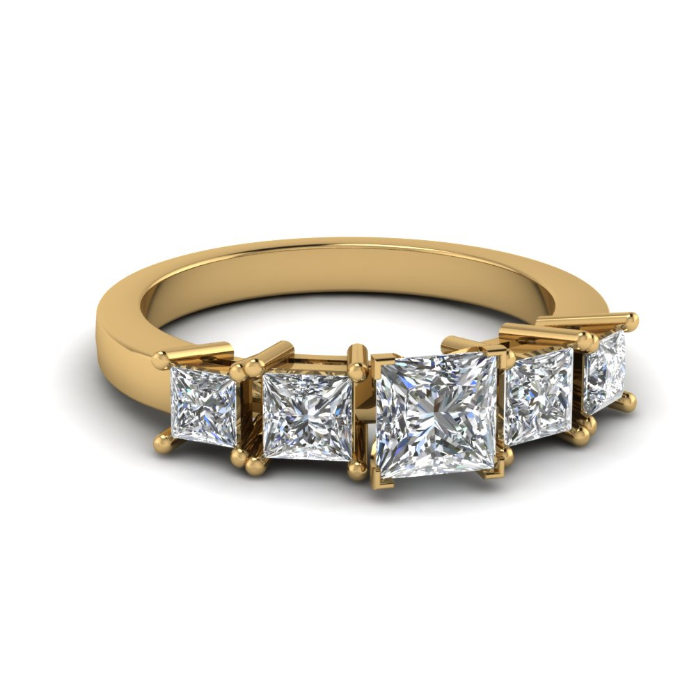 5 Princess Cut Diamond In Yellow Gold Engagement Ring