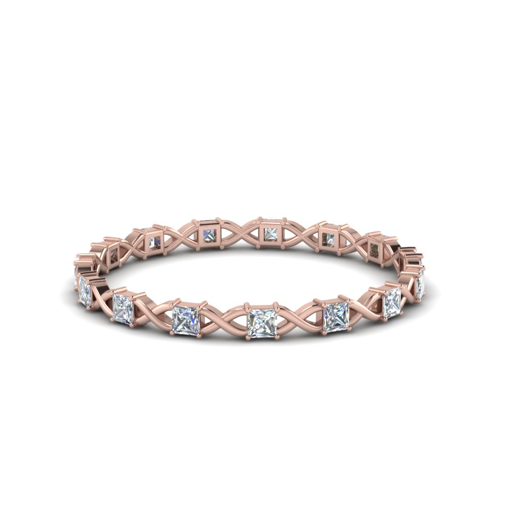 Princess Cut Thin Eternity Band