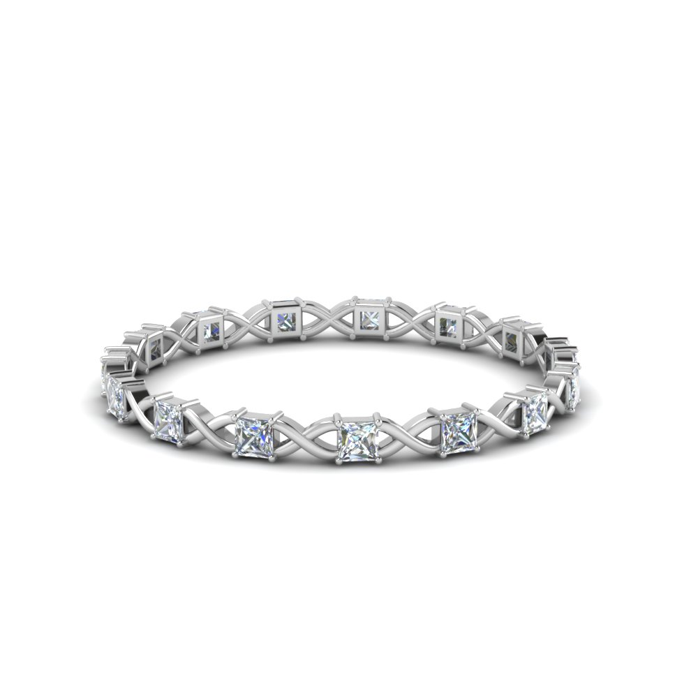 Platinum Princess Cut Eternity Band