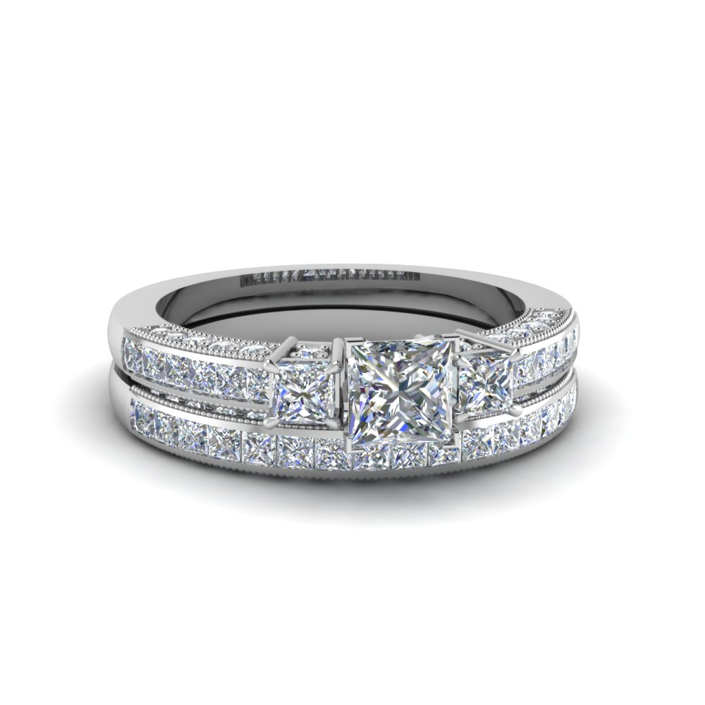 3 Stone Princess Diamond Ring Set
