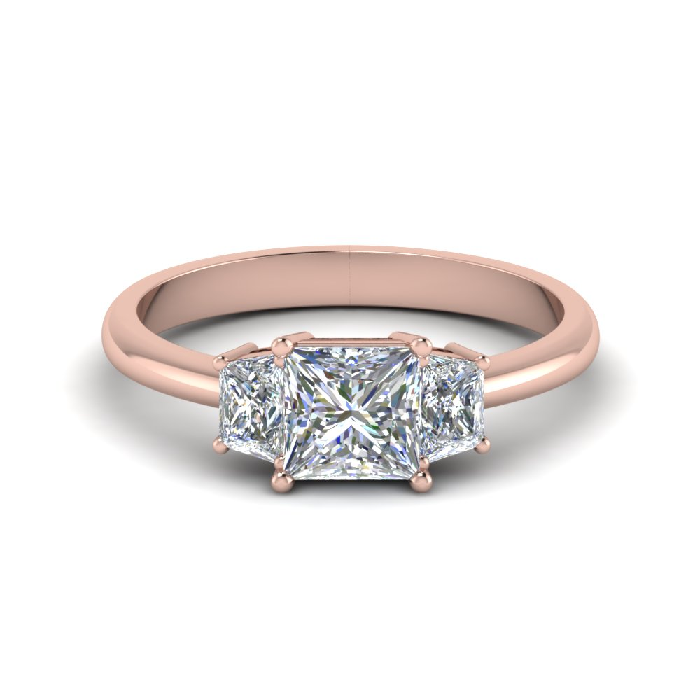 Princess Cut Three Stone Diamond    Ring Gold