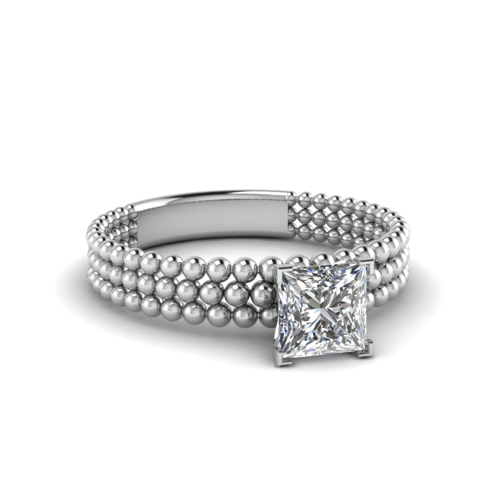 princess cut diamond tri row bead solitaire ring in 14K white gold FD1160PRR NL WG