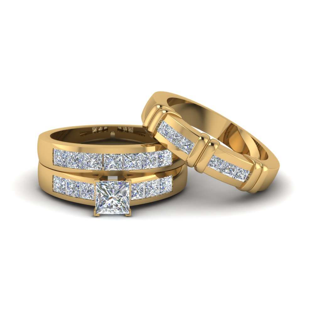 Princess Cut Diamond Trio Matching Ring For Him And Her In 14k