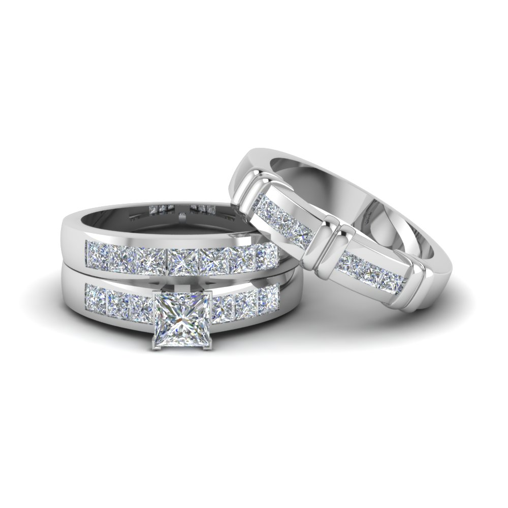 Princess cut diamond trio matching ring for him and her in for Diamond wedding ring for him