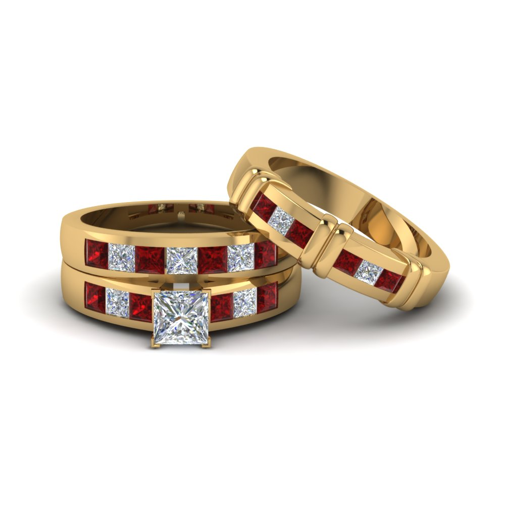 Princess Cut Diamond Trio Matching Ring For Him And Her Ruby In 18k