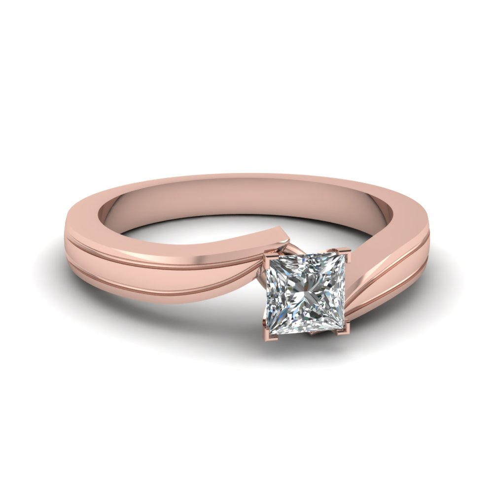 princess cut twisted solitaire engagement ring in 14K rose gold FDENR6677PRR NL RG