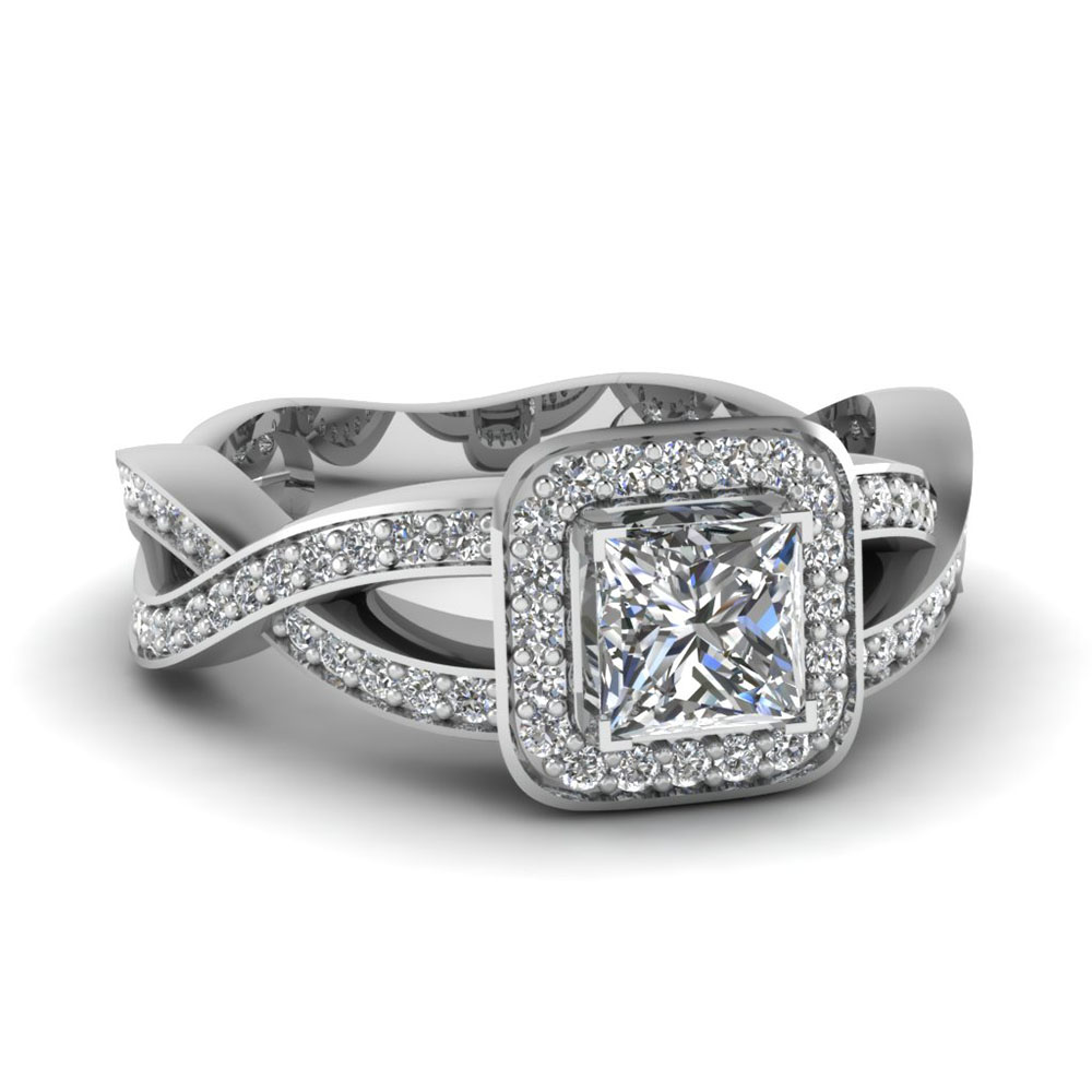princess cut diamond twisted shank engagement ring in 14K white gold FDENR3862PRR NL WG