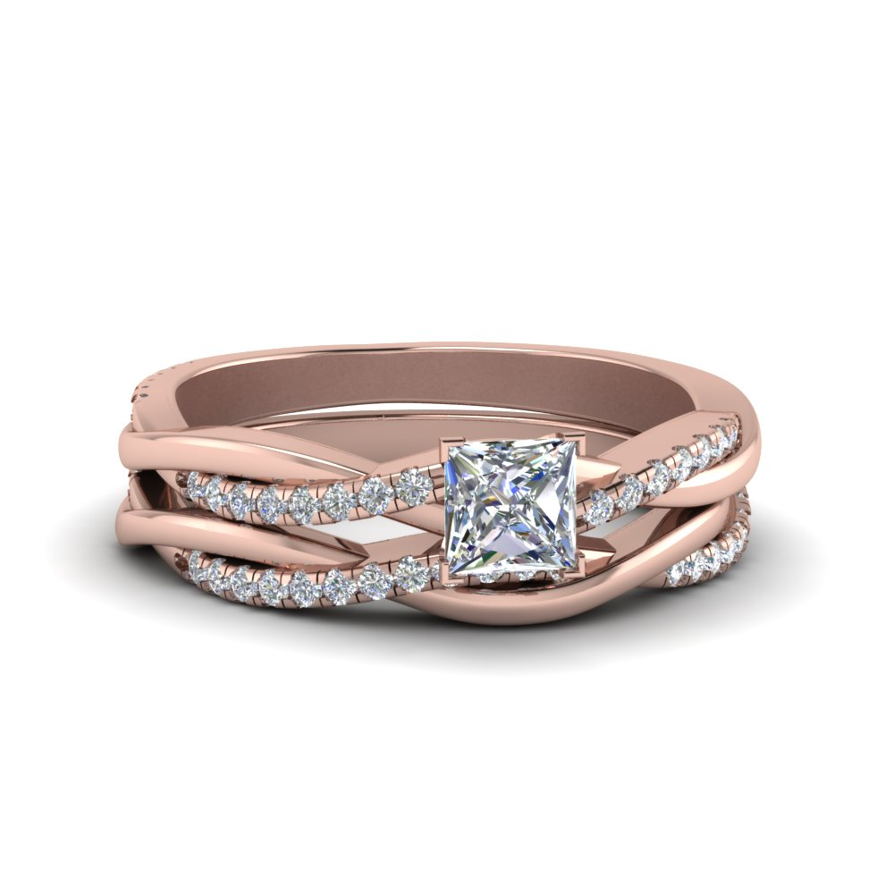Princess Cut Diamond Twisted Vine Wedding Ring Set In 14K Rose Gold