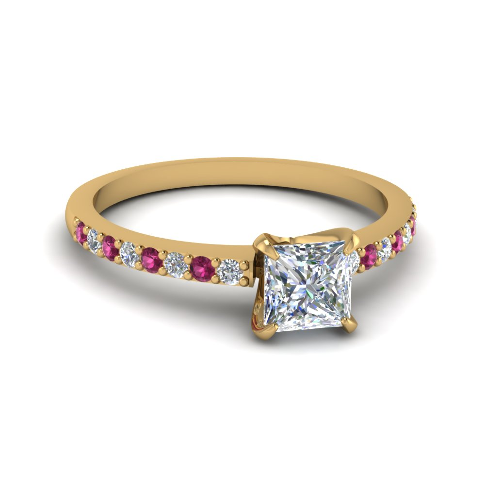 delicate princess cut moissanite petite engagement ring with pink sapphire in FD1026PRRGSADRPI NL YG.jpg