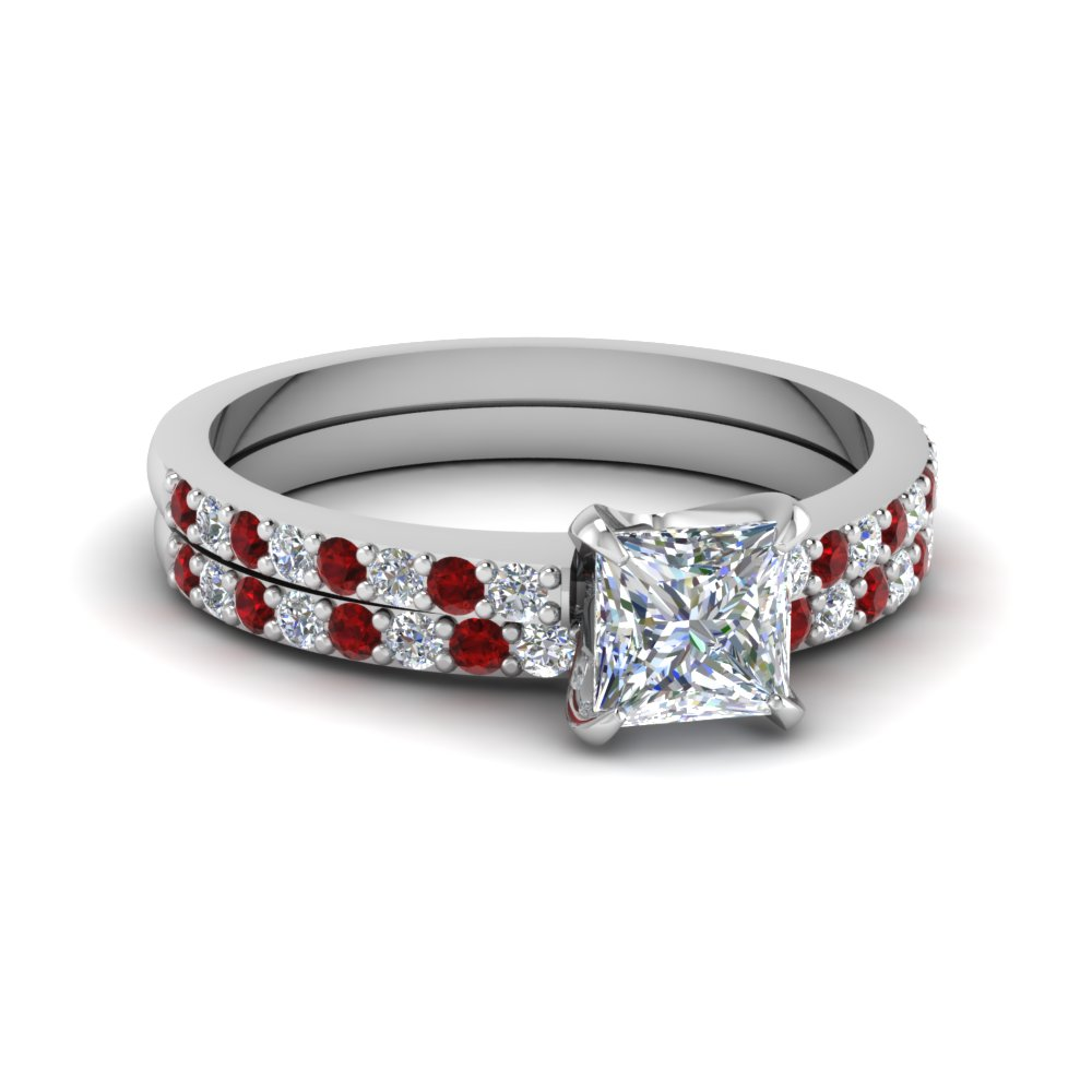 Princess Cut Diamond Wedding Ring Sets With Red Ruby In 14k White Gold