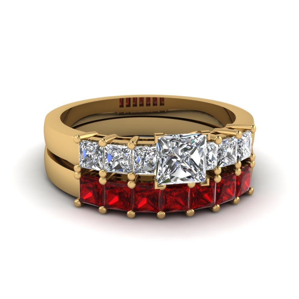 Princess Wedding Ring Set with Rubies