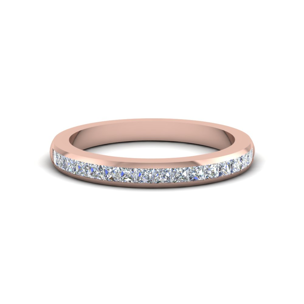 princess cut diamond wedding band for women in 14K rose gold FDENS877B NL RG