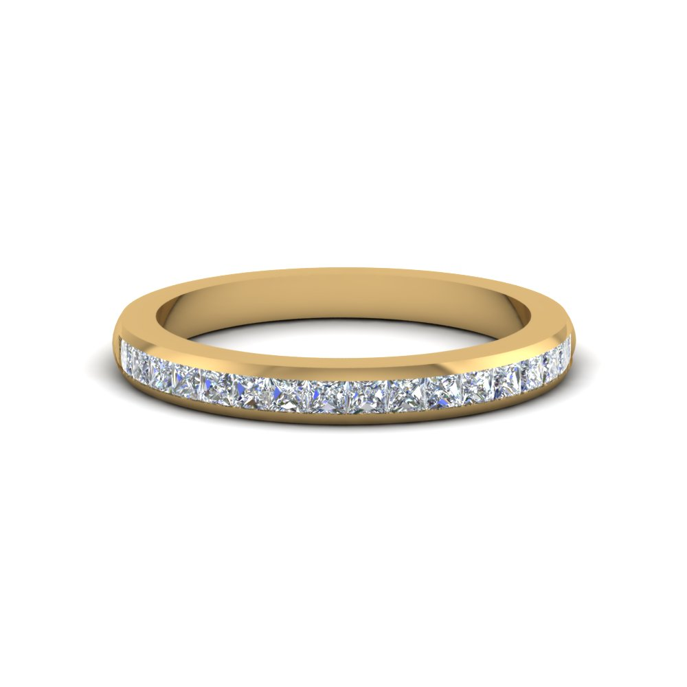Certified Princess Cut Diamond Wedding Band