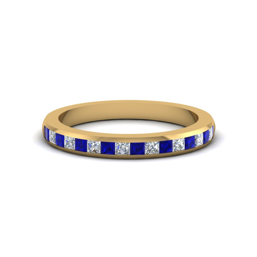 Channel Set Princess Cut Sapphire Wedding Band