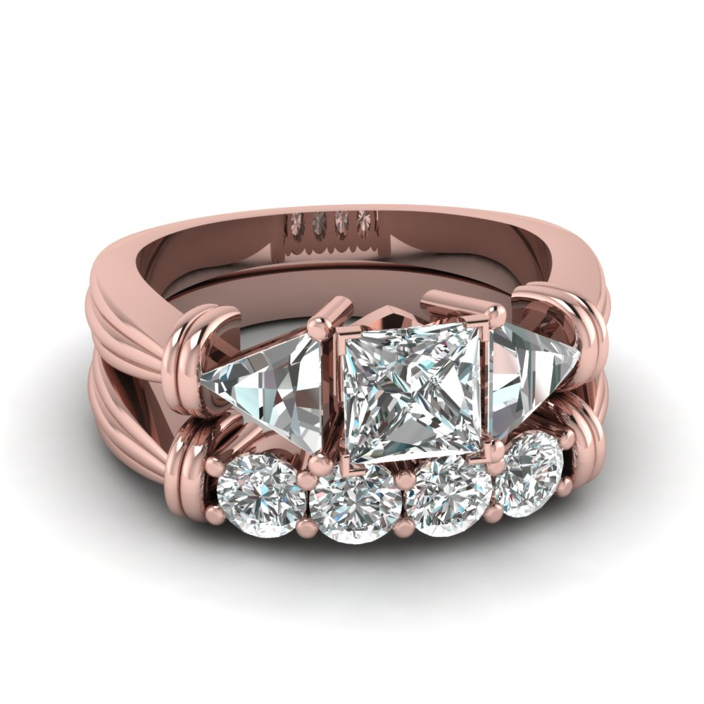 Pink Gold Three Stone Bridal Set For Women